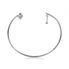 Wholesale Sterling Silver 925 Rhodium Plated Open Bangle with Hanging CZ Heart and Arrow - STB00524