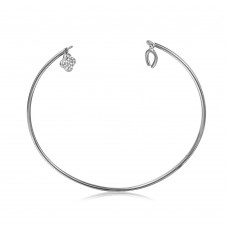 Wholesale Sterling Silver 925 Rhodium Plated Open Bangle with Hanging CZ Clover and Horse Shoe - STB00526