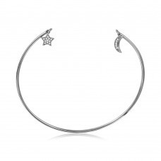 Wholesale Sterling Silver 925 Rhodium Plated Open Bangle with Hanging CZ Star and Crescent - STB00527