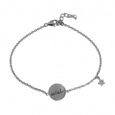 Wholesale Sterling Silver 925 Rhodium Plated Bracelet with Disc Engraved with and Dangle CZ Star - STB00528