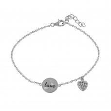 Wholesale Sterling Silver 925 Rhodium Plated Love and Heart with CZ Bracelet - STB00529