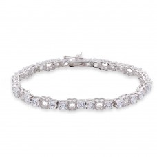 Wholesale Sterling Silver 925 Rhodium Plated Round CZ Alternating Tennis Bracelet - STB00531