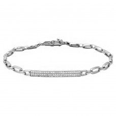 Sterling Silver Rhodium Plated CZ Encrusted Bar Link Bracelet - STB00532