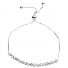 Wholesale Sterling Silver 925 Rhodium Plated CZ Lariat Bracelet - STB00533