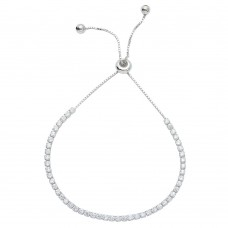 Wholesale Sterling Silver 925 Rhodium Plated CZ Lariat Bracelet - STB00534