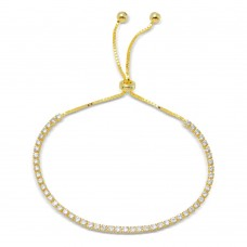 Wholesale Sterling Silver 925 Gold Plated Tennis Adjustable Bracelet with CZ - STB00534GP