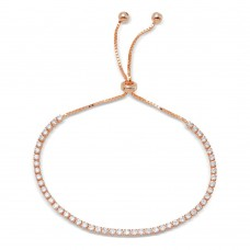 Wholesale Sterling Silver 925 Rose Gold Plated Tennis Adjustable Bracelet with CZ - STB00534RGP