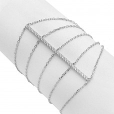 Wholesale Sterling Silver 925 Rhodium Plated CZ Line Multi Chain Bracelet - STB00535