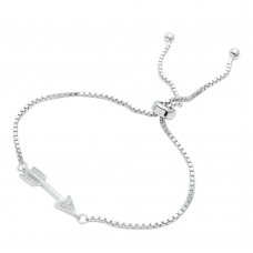 Wholesale Sterling Silver 925 Rhodium Plated CZ Arrow Lariat Bracelet - STB00536