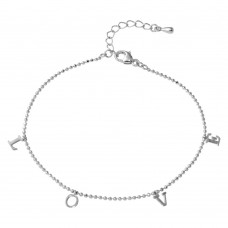 Wholesale Sterling Silver 925 Rhodium Plated L-O-V-E Bead Bracelet - STB00537RH