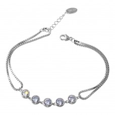 Wholesale Sterling Silver 925 Rhodium Plated Double Strand Box Bracelet with Round CZ - STB00538RH