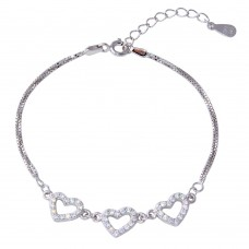 Wholesale Sterling Silver 925 Rhodium Plated Double Strand Box Bracelet with 3 CZ Hearts - STB00539RH