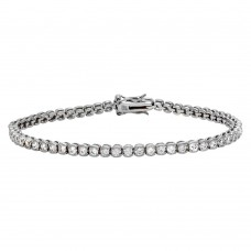 Wholesale Sterling Silver 925 Rhodium Plated Round CZ Tennis Bracelet - STB00540RH