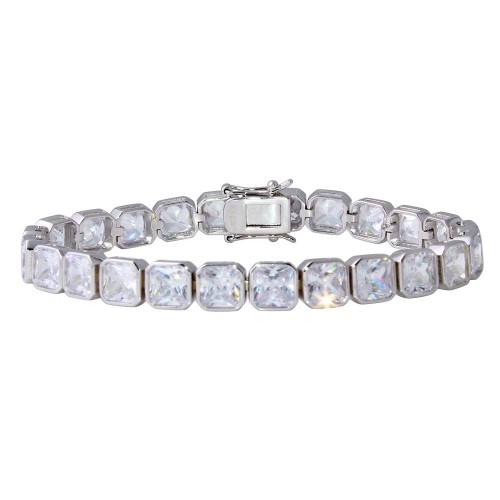 Wholesale Sterling Silver 925 Rhodium Plated Round and Rectangle Cushion CZ Tennis Bracelet - STB00541RH
