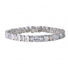 Wholesale Sterling Silver 925 Rhodium Plated Square Cushion CZ Tennis Bracelet - STB00542RH
