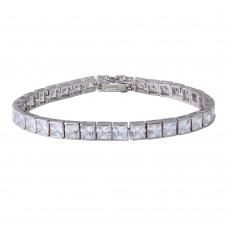 Wholesale Sterling Silver 925 Rhodium Plated Square CZ Tennis Bracelet - STB00543RH