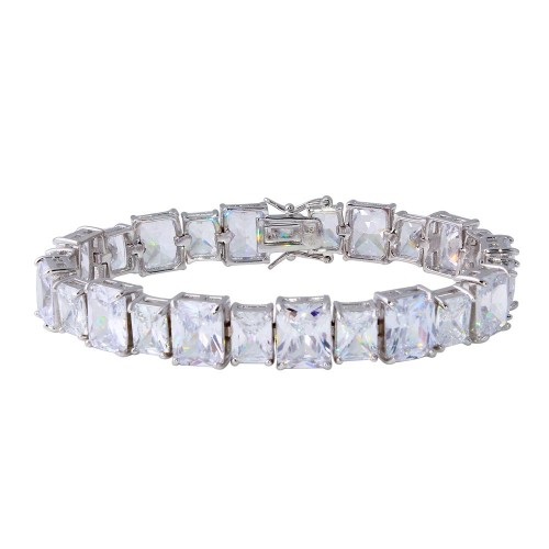 Wholesale Sterling Silver 925 Rhodium Plated Alternating Large and Small Rectangle CZ Tennis Bracelet - STB00544RH