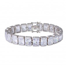 Sterling Silver Rhodium Plated Rectangle Cushion CZ Tennis Bracelet - STB00545RH