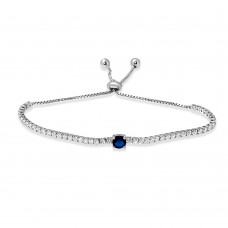 Wholesale Sterling Silver 925 Rhodium Plated Round Blue and Clear CZ Lariat Bracelet - STB00546BLU