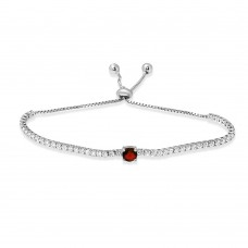 Wholesale Sterling Silver 925 Rhodium Plated Round Red and Clear CZ Lariat Bracelet - STB00546RED