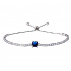 Wholesale Sterling Silver 925 Rhodium Plated Round CZ Lariat Bracelet with Blue CZ Square Center - STB00547BLU