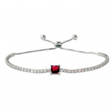 Wholesale Sterling Silver 925 Rhodium Plated Round CZ Lariat Bracelet with Red CZ Square Center - STB00547RED