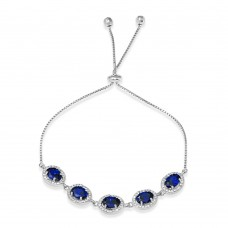 Wholesale Sterling Silver 925 Rhodium Plated 5 Micro Pave Blue Oval and Clear Round CZ Lariat Bracelet - STB00548BLU