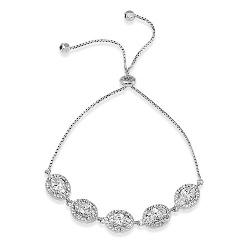 Wholesale Sterling Silver 925 Rhodium Plated 5 Micro Pave Clear Oval and Clear Round CZ Lariat Bracelet - STB00548CZ