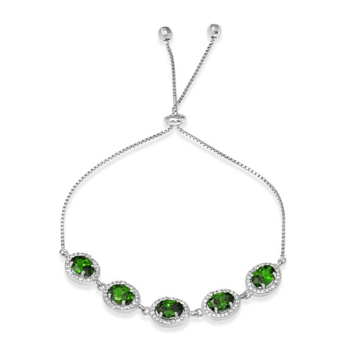 Wholesale Sterling Silver 925 Rhodium Plated 5 Micro Pave Green Oval and Clear Round CZ Lariat Bracelet - STB00548GRN