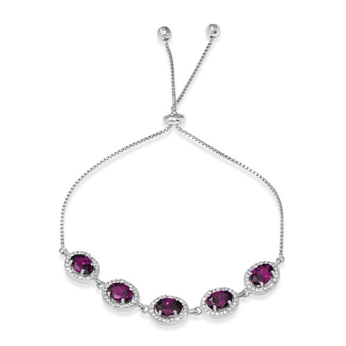 Wholesale Sterling Silver 925 Rhodium Plated 5 Micro Pave Purple Oval and Clear Round CZ Lariat Bracelet - STB00548PUR