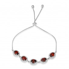 Wholesale Sterling Silver 925 Rhodium Plated 5 Micro Pave Red Oval and Clear Round CZ Lariat Bracelet - STB00548RED