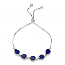 Wholesale Sterling Silver 925 Rhodium Plated 5 Micro Pave Blue Pear and Clear Round CZ Lariat Bracelet - STB00549BLU