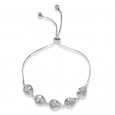 Wholesale Sterling Silver 925 Rhodium Plated 5 Micro Pave Clear Pear and Clear Round CZ Lariat Bracelet - STB00549CZ
