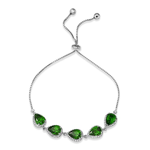 Wholesale Sterling Silver 925 Rhodium Plated 5 Micro Pave Green Pear and Clear Round CZ Lariat Bracelet - STB00549GRN