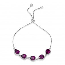 Sterling Silver Rhodium Plated 5 Micro Pave Purple Pear and Clear Round CZ Lariat Bracelet - STB00549PUR