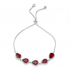 Sterling Silver Rhodium Plated 5 Micro Pave Red Pear and Clear Round CZ Lariat Bracelet - STB00549RED