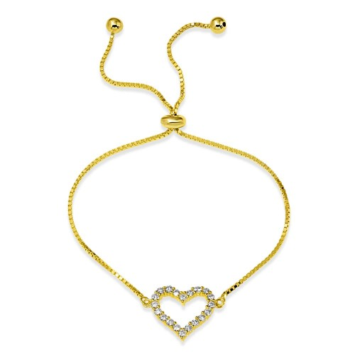 Wholesale Sterling Silver 925 Gold Plated Open Heart CZ Lariat Bracelet - STB00550GP