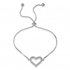 Wholesale Sterling Silver 925 Rhodium Plated Open Heart CZ Lariat Bracelet - STB00550RH