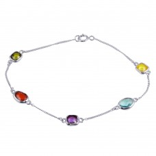 Wholesale Sterling Silver 925 Rhodium Plated Multi-Color CZ Stone Bracelet - STB00551
