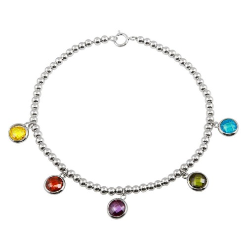 Wholesale Sterling Silver 925 Rhodium Plated Multi-Colored Round CZ Stone Bracelet - STB00552