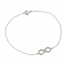 Wholesale Sterling Silver 925 Rhodium Plated Infinity Clear CZ Bracelet - STB00495RHD