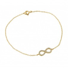Wholesale Sterling Silver 925 Gold Plated Infinity Clear CZ Bracelet - STB00495GP