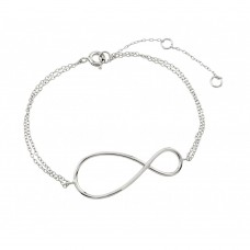 Wholesale Sterling Silver 925 Rhodium Plated Exaggerated Infinity Sign Bracelet - STB00496RHD