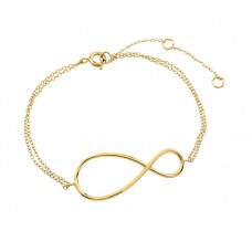 Wholesale Sterling Silver 925 Gold Plated Exaggerated Infinity Sign Bracelet - STB00496GP
