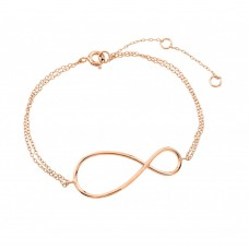Wholesale Sterling Silver 925 Rose Gold Plated Exaggerated Infinity Sign Bracelet - STB00496RGP