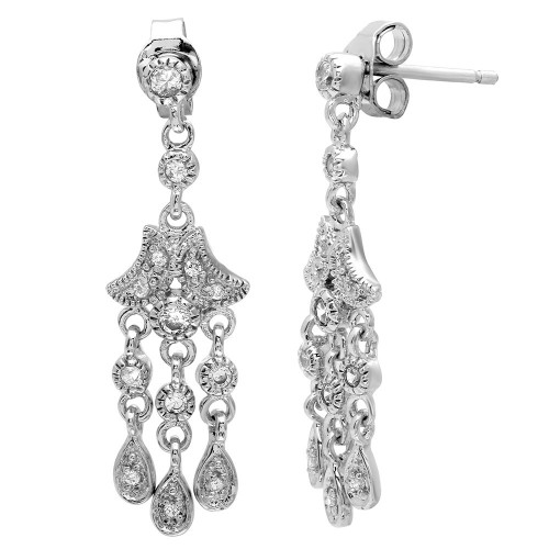 -Closeout- Wholesale Sterling Silver 925 Rhodium Plated Chandelier Hanging Earrings - STE00156