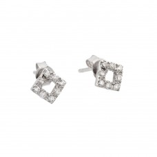 Wholesale Sterling Silver 925 Rhodium Plated Open Square Stud Earrings with CZ - STE00492