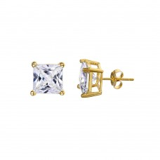 Wholesale Sterling Silver 925 Gold Plated Princess Cut CZ Stud Earrings 8mm - STE00595GP