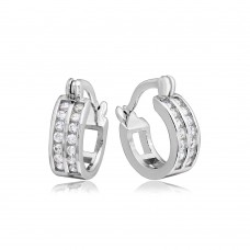 Wholesale Sterling Silver 925 Rhodium Plated 3 Row Huggie Earrings - STE00688