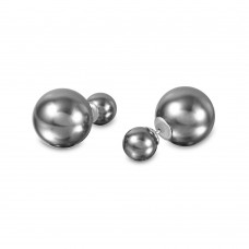 Wholesale Sterling Silver 925 Rhodium Plated Grey Stud Earrings - STE00992GRY